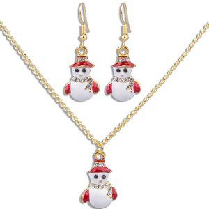 2019 Рождественские ожерелье серьги комплект ювелирных изделий подарок способа многоцветной пролитого масла Новый год