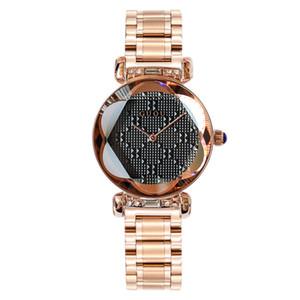 100% Hot GUOU Marca de cuarzo Señora Reloj Rhinestone Impermeable Mujeres Personalidad 3D Espejo Acero Exclusivo Dial Reloj de lujo con caja de regalo
