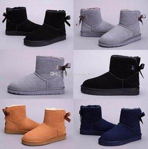 2018 inverno Austrália clássico botas de neve alta qualidade WGG botas altas de couro real Bailey bowknot Botas Bailey arco das mulheres sapatos XMAS