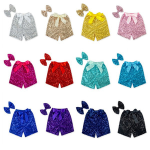 New Toddler baby sequins shorts for summer girls satin bowknot short pants kids boutique shorts childrens 12color choose T2I036