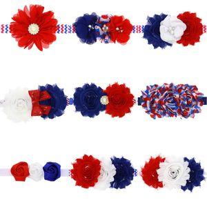 Giornata Nazionale floreale elastico Shabby Fiore ragazza dei capretti della fascia del bambino del bambino Fiore festa di compleanno con strass Fascia per capelli