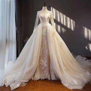 Modest Zuhair Murad Brautkleider mit abnehmbaren Rock Sheer Long Sleeves Lace Brautkleider Real Image Korsett Zurück Brautkleider