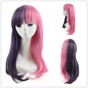 Melanie Martinez Cosplay Mezza viola Mezza rosa parrucca lungo rettilineo Donne Parrucche