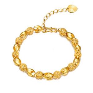 Красивый позолоченный вьетский вьетнамский вьетнамский золотой браслет, антиквариат, выдолбленный браслет леди мода ювелирные изделия оптом и в розницу