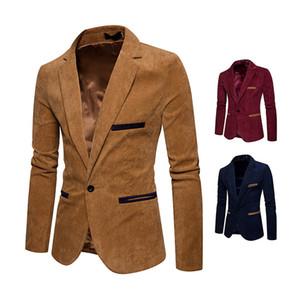 Kadife Erkekler Casual Blazers ve Ceketler Moda Ofis Ceket Yeni Erkek Tasarımcı Blazer