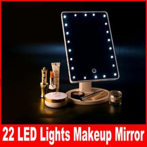 360 درجة دوران شاشة تعمل باللمس يشكلون مرآة LED مستحضرات التجميل الجيب المحمولة المدمجة مع 22 أضواء LED مرآة ماكياج