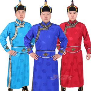 Nouveau festival robe longue mongole robe hommes costume folklorique de danse folklorique traditionnelle de style national scène masculine porter des vêtements de fantaisie de carnaval