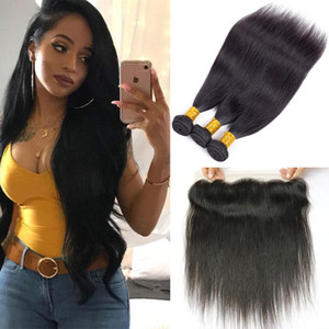 Cierre frontal de encaje peruano 13x4 con 4 paquetes de cabello brasileño recto brasileño Pieza frontal de encaje completo Oreja a oreja