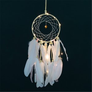 Flashing Art Traumfänger-Anhänger Startseite Ornamente Innovative Geschenke Wind Chimes Traumfänger Naturfedern Wandbehang Dekor H218