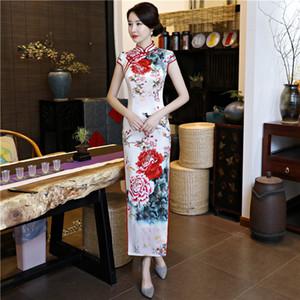 2020 tradizionale cinese Cheongsams stampato lungo economici Guaina Spalato alto collo estate delle donne Cheongsam abiti convenzionali Vintage