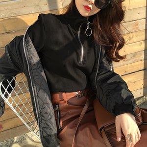 Nouveau Harajuku Vintage Cercle Anneau À Manches Longues Tee À Col Roulé Zipper Tricoté Pull Designer Hoodies Femmes Hoodies Vente Chaude
