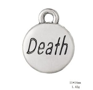 Pendentif Charms avec Mot de la Mort Message plaqué argent antique