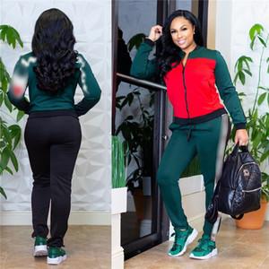 Donna Tuta Champions Jacket + Pantaloni Joggers Set Zipper Patchwork Lettera Hoodie Coat Top 2 pezzi Sportswear Autunno Inverno Outfit vendita