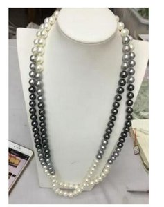 Wholesale double strands 9-10mm natural south seas black white pearl necklace 18 inch 14K gold clasp