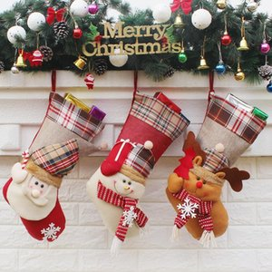 Noel Çorap El Yapımı El Sanatları Çocuk Şeker Hediye Santa Çanta Baba Kardan Adam Geyik Çorap Çorap Noel Ağacı Dekorasyon oyuncak hediye # 37 38 39
