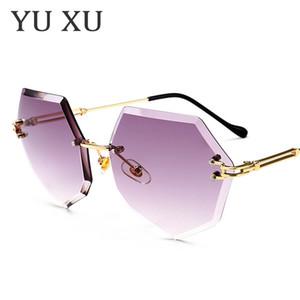 Yu Xu Poligon Çerçevesiz Güneş Kadınlar Tasarımcı Çerçevesiz Metal Bacak Güneş Gözlüğü Yeni Moda Degrade Lens Güneş Gözlüğü H77