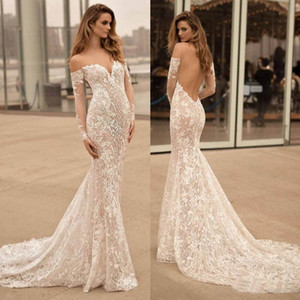 New Arrival Tulle Sexy Backless Sheer Long Sleeve Wedding Dresses Lace Applique Off Shoulder Mermaid Wedding Bridal Dress Free Shipping