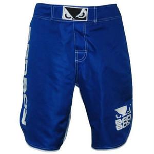 Mens MMA Boxing Shorts Badboy Fight Trunks Boxer economici Kickboxing Shorts Muay Thai Sanda Arti marziali Wrestling M-3XL Blu Nero