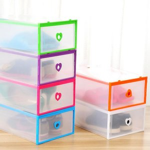 Drawer Type Transparent Shoe Box Thickening Plastic Wrapping Storage Box Stackable Foldable Rectangle Bins Free Shipping ZA6285
