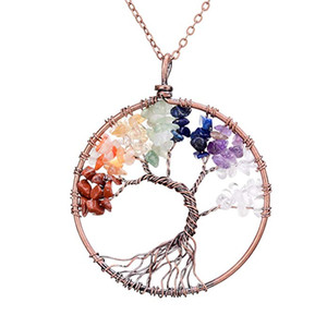 Caliente Grava de la vendimia Árbol de piedra colgante de vida Collar de cristal hecho a mano del encanto Árboles coloridos Cuerda Collares Mujeres de la manera Lockets Ladies Jewelr