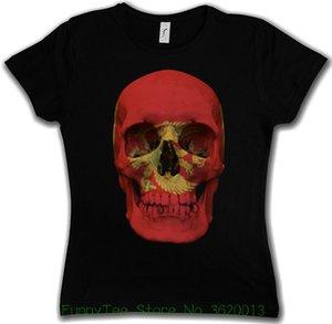 Женская тройник классический Черногория череп флаг женщина девчушка девушка футболка-байкер MC баннер рубашка смешно печати женщины футболка