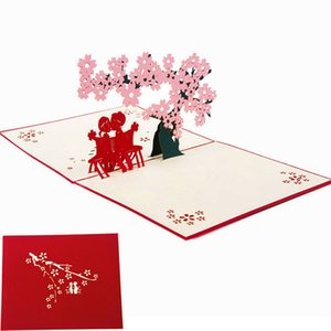 3D pop-up tarjetas de felicitación Cherry Tree Love Valentine aniversario Easter Easter Gift Postcard Nuevo