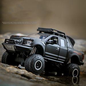 Diecast Model Araba Oyuncak, Kid' Doğum Günü Partisi Hediyeleri için Işık Sound, Pull-back, Ford Raptor F150 Kamyonet, Toplama, Ev Dekorasyon
