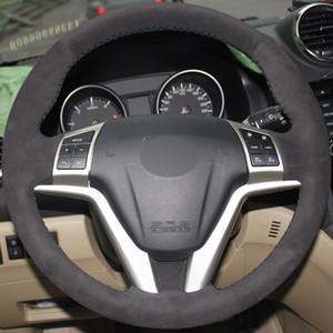 Todo negro gamuza DIY cosido a mano cubierta del volante del coche para Great Wall Haval Hover H6