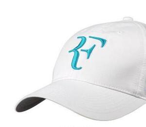 2 unids / lote 2018 nuevas gorras de béisbol ajustables negro blanco más nuevos hombres mujeres Roger Federer RF híbrido raqueta de tenis sombrero raqueta de tenis