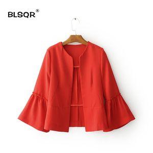 BLSQR Mujeres Work Coat Cardigans Primavera Otoño Casual Oficina Ruffles manga traje chaqueta corta Blazer para damas ropa rojo / negro