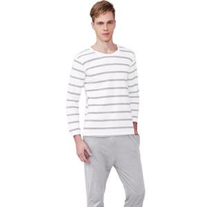 Hommes Pyjama Coton Gris Rayé O-neck Sleepwear Hommes DODOMIAN Home Vêtements Plus Size L-3XL Haute Qualité Sous-Vêtements Masculins