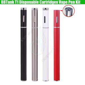 BBTank T1 Disposable Thick Oil Cartridges Vaporizer Vape Pen BB Tank BUD Touch 280mAh Battery 0.25ml 0.5ml e cigs Starter Kits 4holse drips