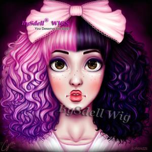 Sexy lady melanie martinez casa delle bambole da crystalizi acconciatura parrucca sintetico nero misto rosa ombre viola colore capelli ricci parrucche personalizzate