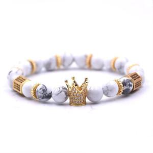 Braccialetti in pietra naturale 8mm micro inclusioni di Zircone Corona opaco nero onice braccialetto di fascino per le donne degli uomini