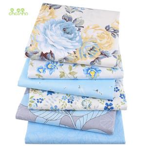 Chainho, 6pcs / lot, Serie floral azul de la tela cruzada tela de algodón, remiendo de tela, costura DIY acolchar Cuartos gordos del material En BabyChild