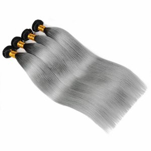 Ishow Hair New Arrival Brazilian Hair Bundles T1B Grey Ombre Color Straight Remy Hair Extensions