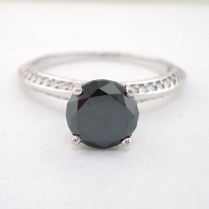 14K oro blanco negro redondo Moissanite 3 carat 9 MM lab Diamond Solitaire anillo de compromiso de boda con laterales Stoens para mujeres S923