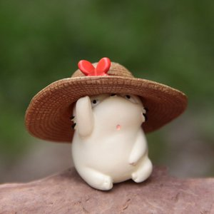 Sevimli Mini Bebekler Hasır Şapka Fat Cat DIY Modeli Japon Anime PVC Action Figure Mikro bahçe dekorasyon Çocuk Hediye