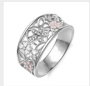 Originalidade incrustada Cherry Blossom te amo para a lua e costas anel do alfabeto