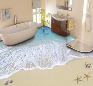 3D полы на заказ фото обои пляжная волна PVC напольные рулоны обои кирпичная стена 3d пола росписью
