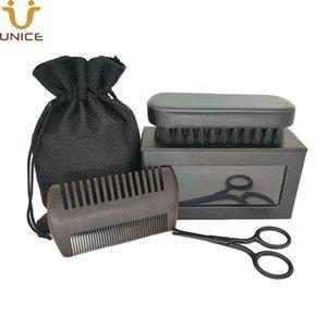 LOGO MOQ100pcs personalizado Homens Beard Set Cuidados Belas Grosso Dentes Black Wood penteia o cabelo Combs cerda barba Pincel Tesoura na caixa de presente