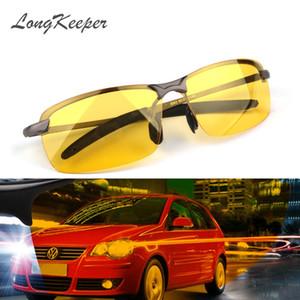 LongKeeper 2017 Nueva Lense Lense de Visión Nocturna Amarilla Gafas de Conducción Hombres Gafas de Sol de Conducción Polarizadas Gafas Reduce el Deslumbramiento