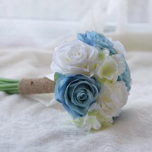 Дешевые Handmade невесты Свадебные украшения пены цветы Свадебные Bridemaid Свадебный букет Белый сатин Романтический Свадебный букет CPA1565