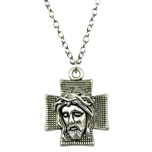 WYSIWYG 5 Pieces Metal Chain Necklaces Pendants Male Necklace Fashion Jesus On The Cross 28x22mm N2-B12794