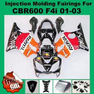 Carenados 100% Fit Injection para F4i HONDA CBR600F4i CBR600RR 01 02 03 CBR 600 F4i CBR 600F4i 2001 2002 2003 Kits de carenado REPSOL design