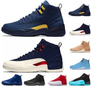 Scarpe da pallacanestro blu uomo 12s gamma college blu scuro gioco di flu grigio scuro playoff francese blu scarpe da ginnastica rosse da ginnastica taglia US 7-13