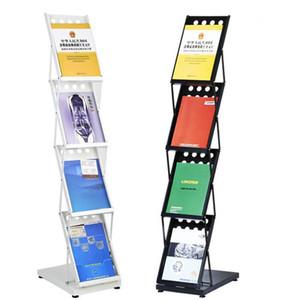 Metallbacken-Ende-Zeitschriften-Katalog-Katalog-faltender Halter-Stand im Stand-Ausstellungs-Geschäft-Anzeige-freies Verschiffen ZA6663