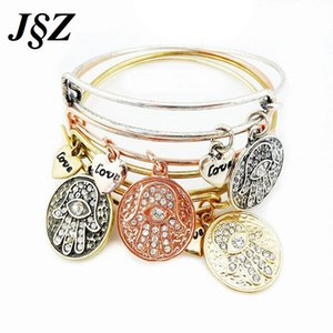 whole salePulseira Feminina Fatima Hamsa Hand Expandable Wire Bangle Bracelet  Jewelry For Women Girl Bracciale Donna