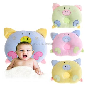 Baby Anti-roll Pillow Flat Head Sleeping Lovely Pig Design Shaping Pillow -B116