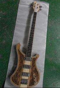 Оптовый Рик...r 4004 4 строки электрическая бас-гитара 4003 резной цветок тела через шею в природных 130901